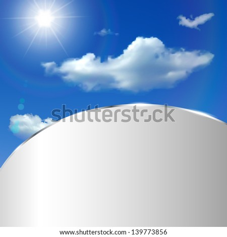 Abstract background with sky, clouds, sun and metallic strip. Raster version.