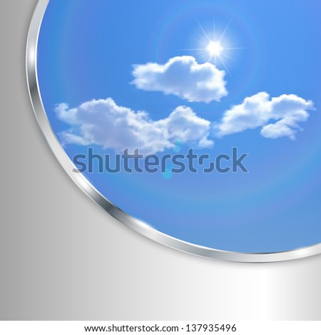 Abstract background with sky, sun, clouds and metallic strip. Raster version. - stock photo