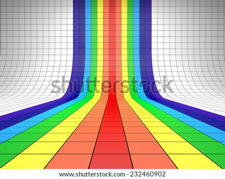Abstract background with the perspective grid. Rainbow - stock photo
