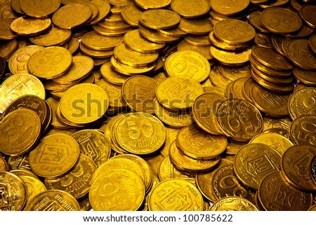 abstract background with Ukrainian coins - stock photo