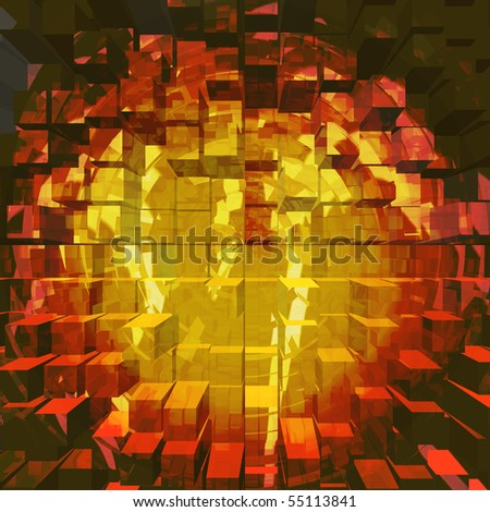 Abstract background with vivid colors and computer generated extruded 3d box render giving to the image a great perspective look and dimensional feel - stock photo