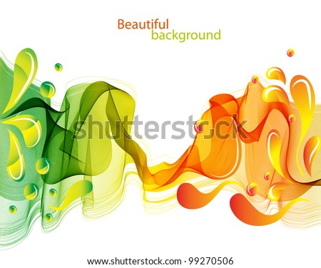 Abstract background with waves and drops, beautiful illustration