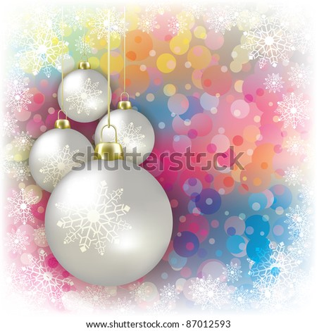 Abstract background with white Christmas decorations and snowflakes