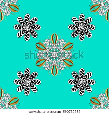 Abstract background with white repeating elements on a blue background. Seamless oriental classic white pattern.