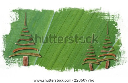 abstract background with wooden christmas tree - stock photo