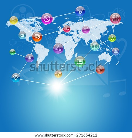 Abstract background with world map and computer icons