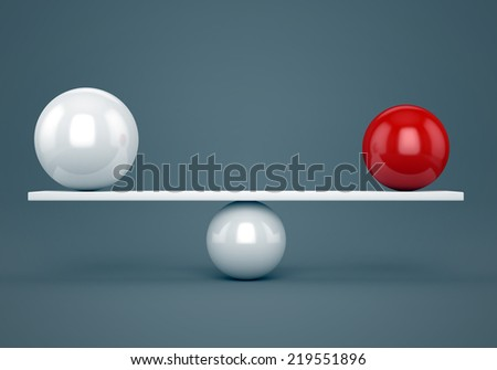 Abstract balance, accuracy and harmony concept. Red and white glossy balls on plank. - stock photo