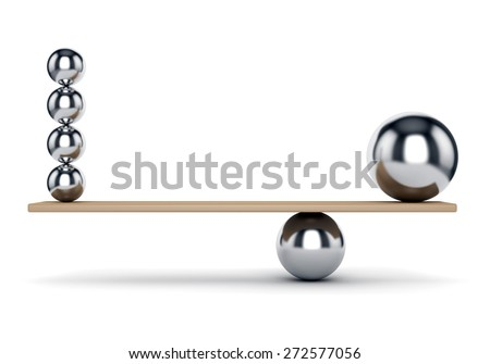 Abstract balance, harmony and justice concept. Metal spheres on plank isolated on white background. - stock photo