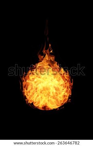 abstract ball fire flames on black background - stock photo