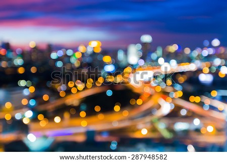 Abstract, Bangkok night cityscape light blur bokeh, defocused background - stock photo