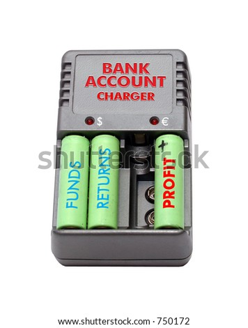 Abstract bank account charger on white background