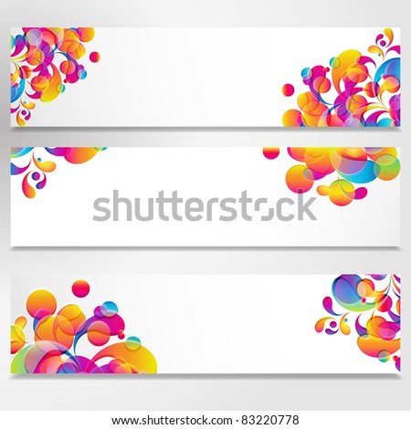 Abstract banner with bright teardrop-shaped arches.