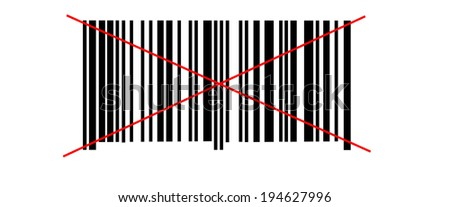 Abstract barcode security pattern on white background crossed two red lines - stock photo
