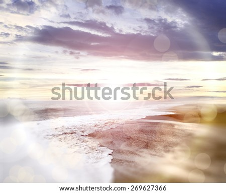 Abstract beach background.Flare lights and defocus - stock photo