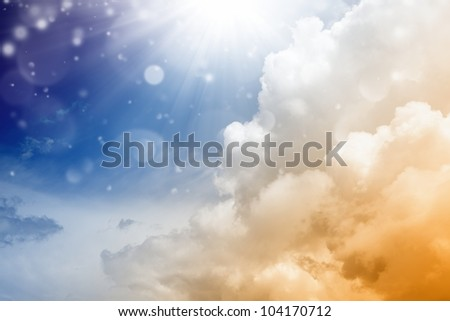Abstract beautiful background - bright sun from above, blue sky - heaven - stock photo