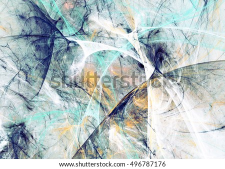 Abstract beautiful blue and white soft color background. Dynamic painting texture. Modern futuristic cold pattern. Fractal artwork for creative graphic design