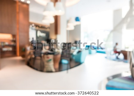 Abstract beautiful luxury blur hotel interior for background
