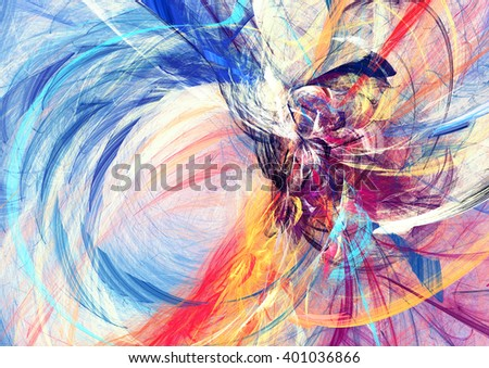 Abstract beautiful multicolor bright artistic background. Dynamic painting texture. Modern futuristic pattern. Fractal artwork for creative graphic design - stock photo