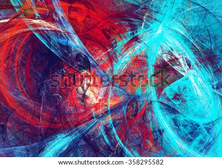 Abstract beautiful red and blue bright color background. Dynamic painting texture. Modern futuristic pattern. Fractal artwork for creative graphic design