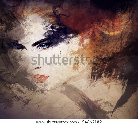 Abstract beautiful woman face. watercolor illustration - stock photo