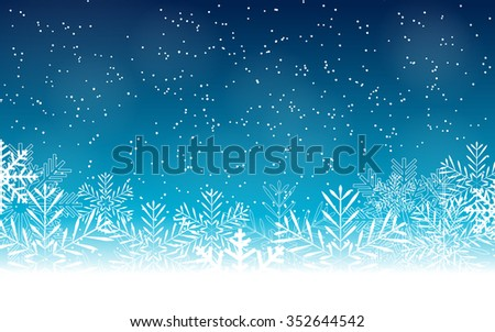 Abstract Beauty Christmas and New Year Background with Snow and Snowflakes. Illustration