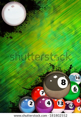 Abstract billiard invitation advert background with empty space - stock photo