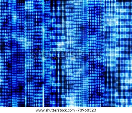 Abstract binary code, blue digital screen - stock photo
