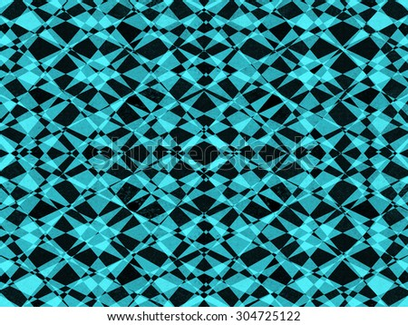 Abstract black and blue geometric kaleidoscope pattern background - stock photo