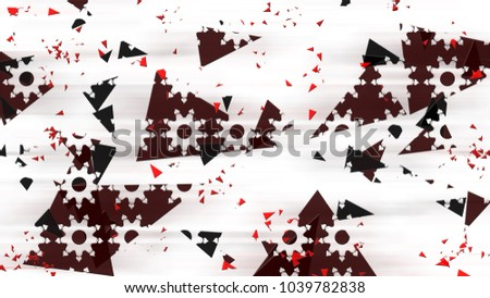 Abstract black and red flying triangles background.