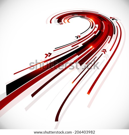 Abstract black and red futuristic perspective vector background - stock photo