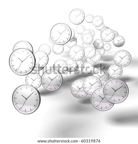abstract black and white chrome clock on white background - stock photo