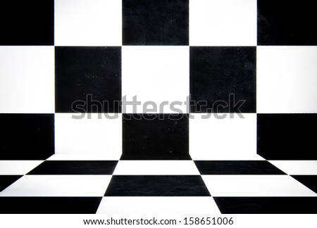 Abstract black and white cubes - stock photo