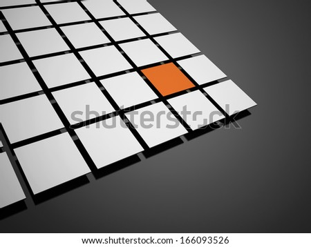 Abstract black and white cubes one is orange background rendered