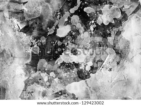 Abstract black and white painting background on vintage paper - stock photo