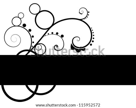 Abstract Black and White Pattern Background with Floral Swirl Elements and Banner for Header or Text