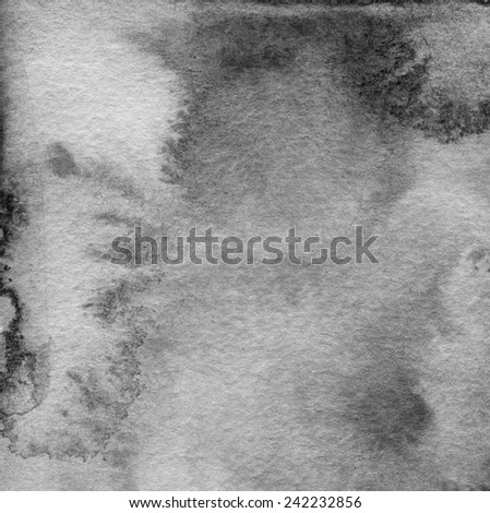 Abstract black and white watercolor painted background. Paper texture. - stock photo