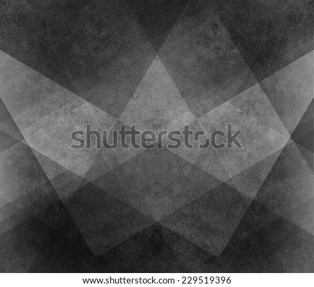 abstract black background white pattern of stripes, triangles, rectangles, squares, and blocks in diagonal lines with vintage monochrome texture - stock photo