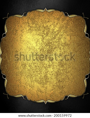 Abstract black background with a gold plate background with decorative trim. Design template. Design site