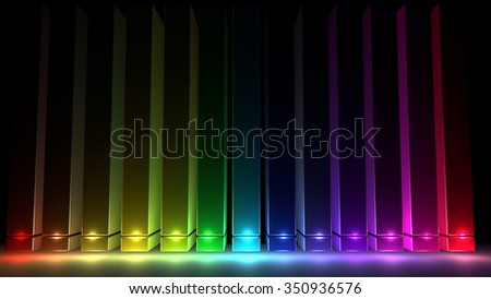 Abstract black background with a vertical 3D multicolor illumination - stock photo