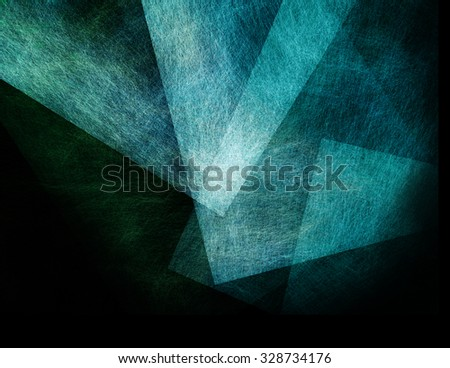 abstract black background with blue floating transparent shapes - stock photo