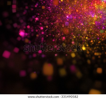 Abstract black background with pink and orange sparkles texture, suitable for Christmas greeting card,  in corner, fractal - stock photo