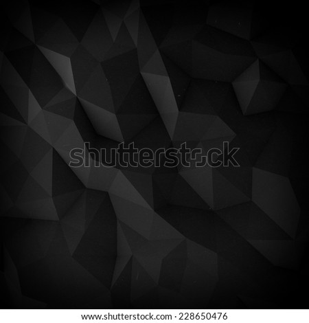Abstract black faceted paper background - stock photo