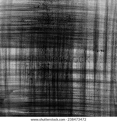 Abstract black ink painting on grunge paper texture. Plaid pattern hand painting backdrop. - stock photo