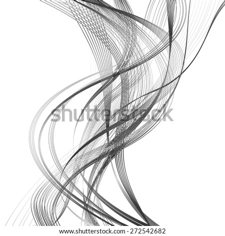 abstract black line grey wave gray band isolated on white background. raster illustration - stock photo