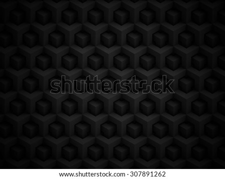 Abstract black polygonal 3D pattern - geometric box structure background - stock photo