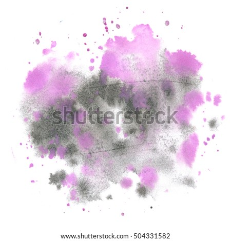abstract black purple watercolor splash. Watercolor drop isolated blot for your design