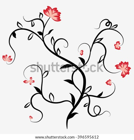 Abstract black silhouette of a plant with red flowers and tendrils. Rasterized version. - stock photo