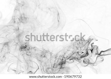 abstract black smoke on white background - stock photo