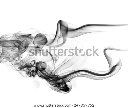 Abstract black smoke on white background. - stock photo