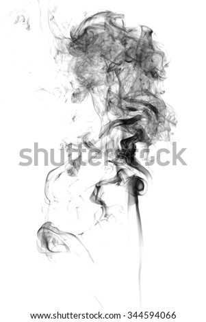Abstract black smoke on white background. - stock photo
